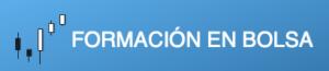 Logotipo de Formación en Bolsa con el fondo azul y letras blancas