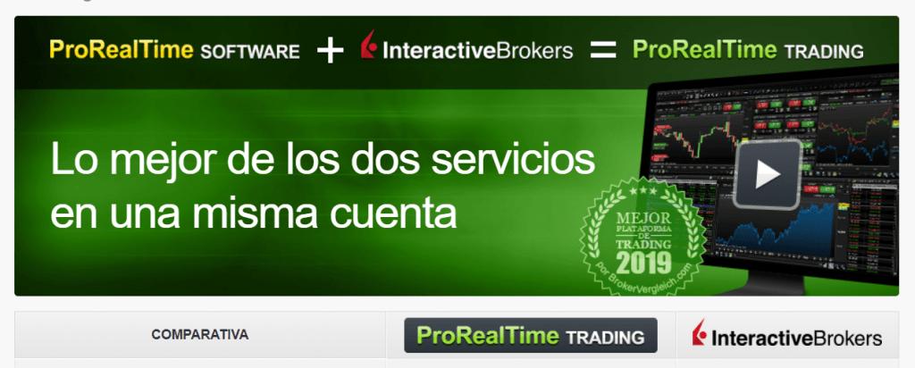 Página web de la comparativa interactive brokers y prorealtime y un ordenador con gráficos