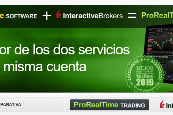 Página web del acuerdo de PorRealTime y Interactive Brokers con ordenador con gráficos