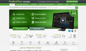 Página web de prorealtime con pantalla de gráficos e información