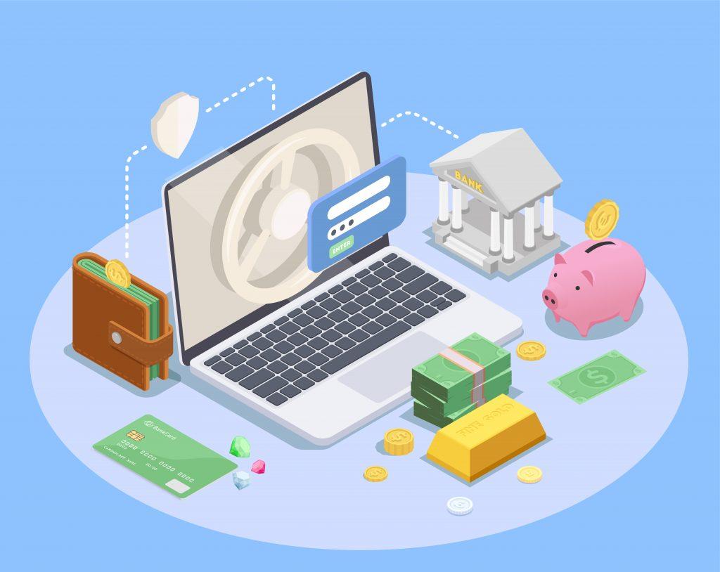 Composición isométrica financiera bancaria con imágenes de los iconos de la computadora portátil de la cartera del banco y la ilustración del vector de dinero vector gratuito